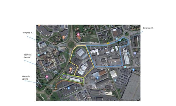 Plan du périmètre d'intervention du projet Epicentre - Boulazac Isle Manoire