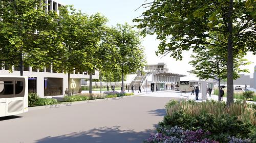 image virtuelle des bâtiments dans le futur quartier d'affaires