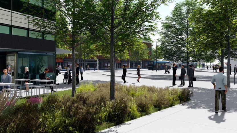 image virtuelle d'immeubles de bureaux et de gens qui vont à leur travail à pied