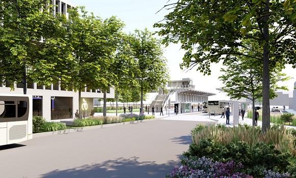 image virtuelle d'un quartier avec des immeubles de bureaux